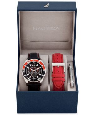Nautica Men's Interchangeable Black and Red Strap Watch Set 44mm N13664G