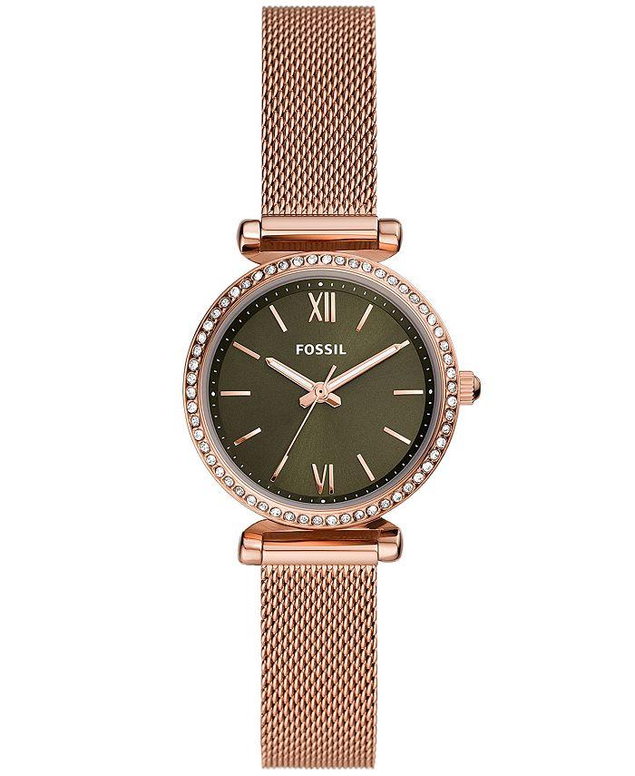Fossil - Women's Carlie Mini Rose Gold-Tone Mesh watch 28mm