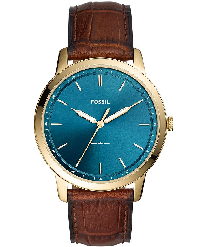 Fossil - Men's Minimalist Brown Leather Strap Watch 44mm