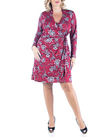 Women's Plus Size Floral Mini Wrap Dress