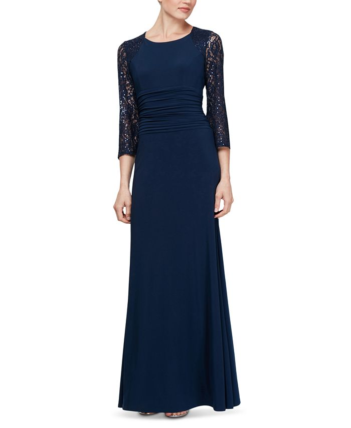 SL Fashions - Ruched-Waist Lace-Sleeve Gown