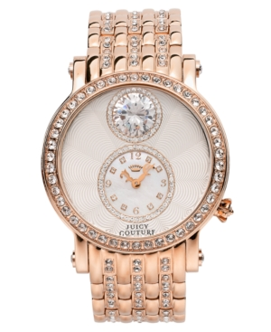 Juicy Couture Women's Crystal-Accented Rose Gold-Tone Stainless Steel Bracelet Watch 42mm 1901074