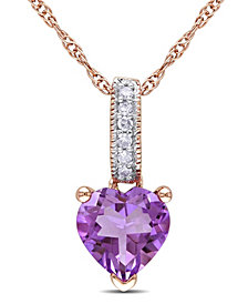 Amethyst and Diamond Accent Pendant and Chain