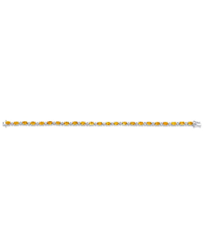 Macy's Citrine (5-3/4 ct. t.w.) & White Topaz (7/8 ct. t.w.) Tennis Bracelet in Sterling Silver & Reviews - Bracelets - Jewelry & Watches - Macy's