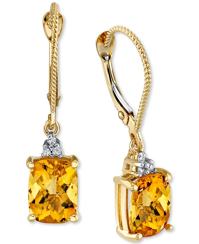 Macy's - Citrine (3 ct. t.w.) & Diamond Accent Drop Earrings in 14k Gold