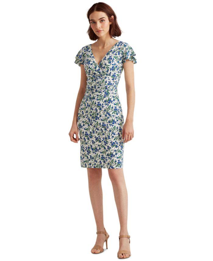 Lauren Ralph Lauren Flutter-Sleeve Surplice Dress & Reviews - Dresses - Women - Macy's