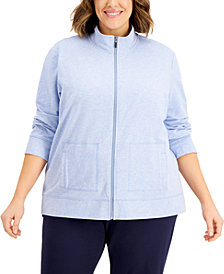 Karen Scott Plus Size French Terry Knit Jacket, Created for Macy's