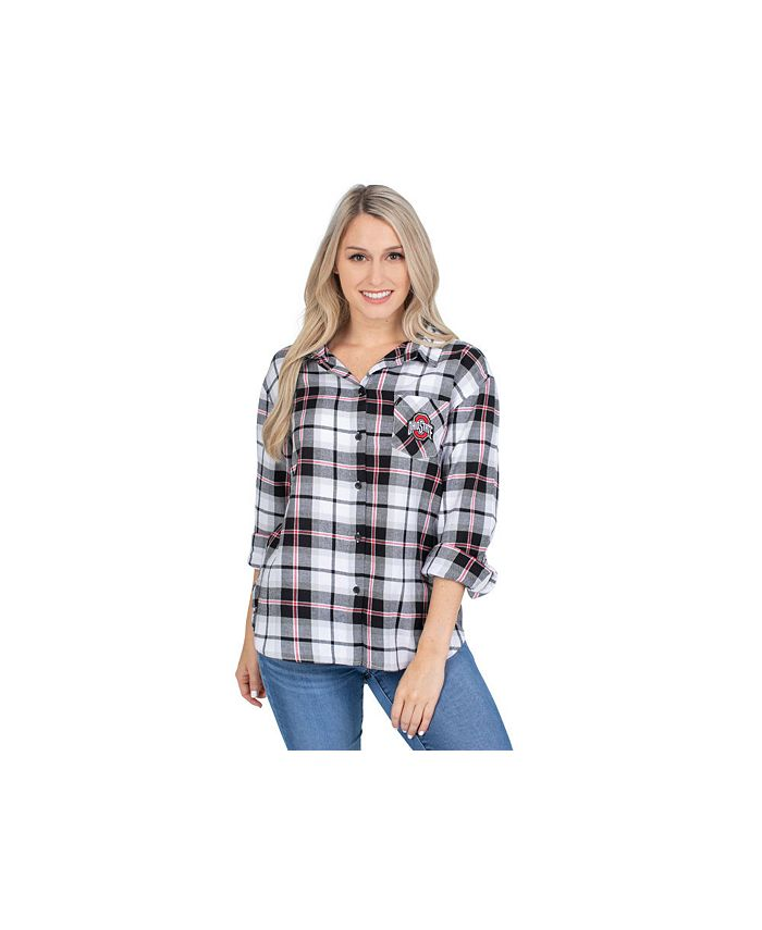 Lids - Ohio State Buckeyes Women's Flannel Boyfriend Plaid Button Up Shirt