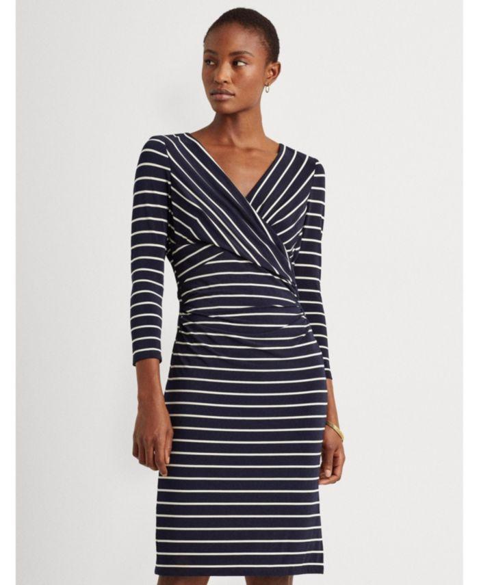 Lauren Ralph Lauren Striped Surplice Jersey Dress & Reviews - Dresses - Women - Macy's