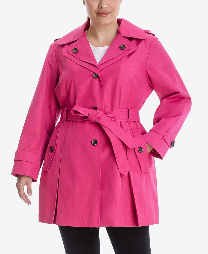 London Fog - Plus Size Hooded Belted Trench Coat