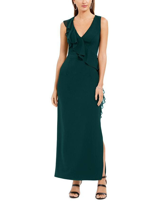 Connected - Petite V-Neck Ruffled Gown