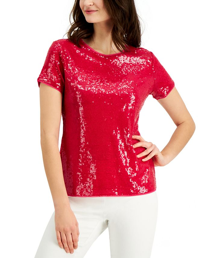 Charter Club - Sequined Short-Sleeve Blouse, Created for Macy's