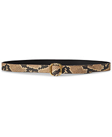 Lauren Ralph Lauren Snake-Embossed Leather Slide-Buckle Belt
