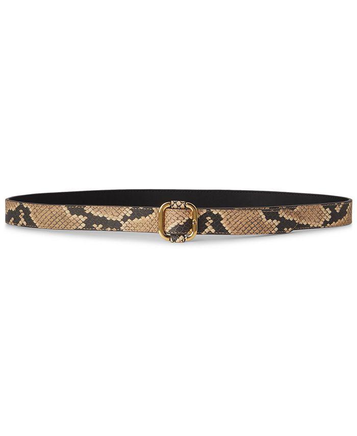 Lauren Ralph Lauren - Snake-Embossed Leather Slide-Buckle Belt