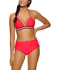 Hula Honey Juniors' Zig-Zag Zinc Triangle Bikini Top & Cheeky High-Waist Bikini Bottoms, Created for Macy's