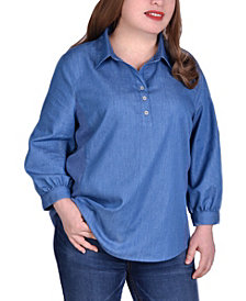 NY Collection Women's Plus Size 3/4 Sleeve Denim Top