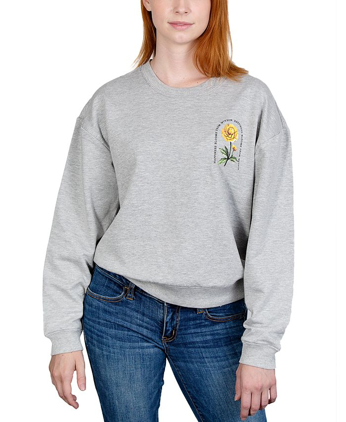 Rebellious One - Juniors' Floral Graphic Sweatshirt