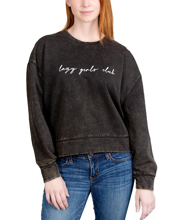Rebellious One - Juniors' Lazy Girls Weathered Graphic Sweatshirt