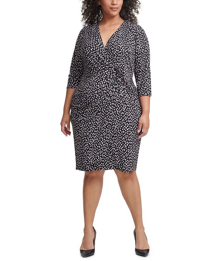 Jessica Howard - Plus Size Dot-Print Jersey Sheath Dress