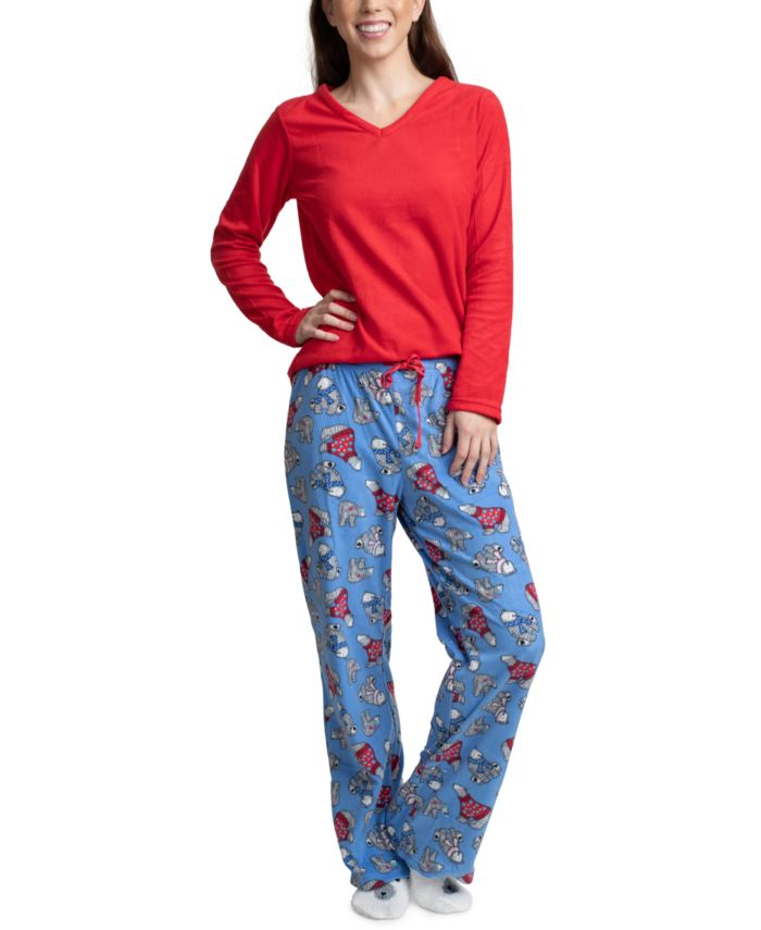 Muk Luks Fleece Top, Pants & Socks 3pc Pajama Gift Set & Reviews - Bras, Panties & Lingerie - Women - Macy's