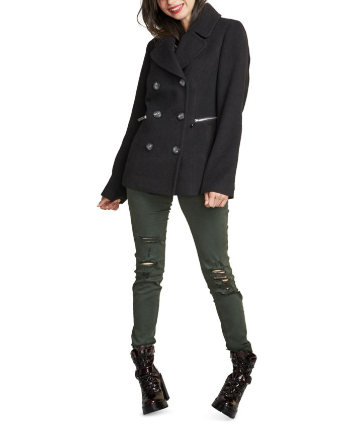 Maralyn & Me Juniors' Double-Breasted Peacoat, Created for Macy's & Reviews - Coats - Women - Macy's