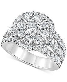 Diamond Openwork Flower Ring (3 ct. t.w.) in 10k White Gold