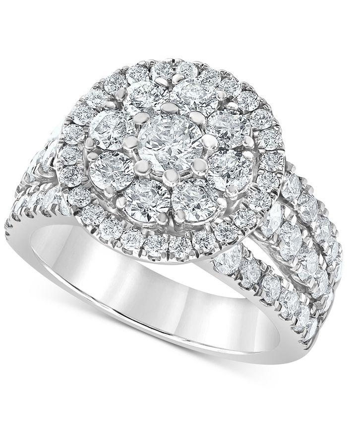 Macy's - Diamond Openwork Flower Ring (3 ct. t.w.) in 10k White Gold