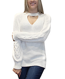 Almost Famous Juniors' Cutout Chenille Sweater