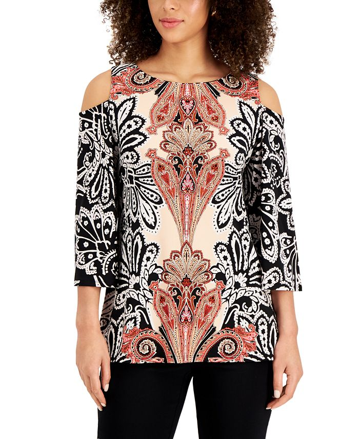 Jm Collection Printed Cold Shoulder Tunic Created For Macy S Reviews Tops Women Macy S