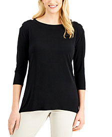 JM Collection 3/4-Sleeve Button-Shoulder Top, Created for Macy's