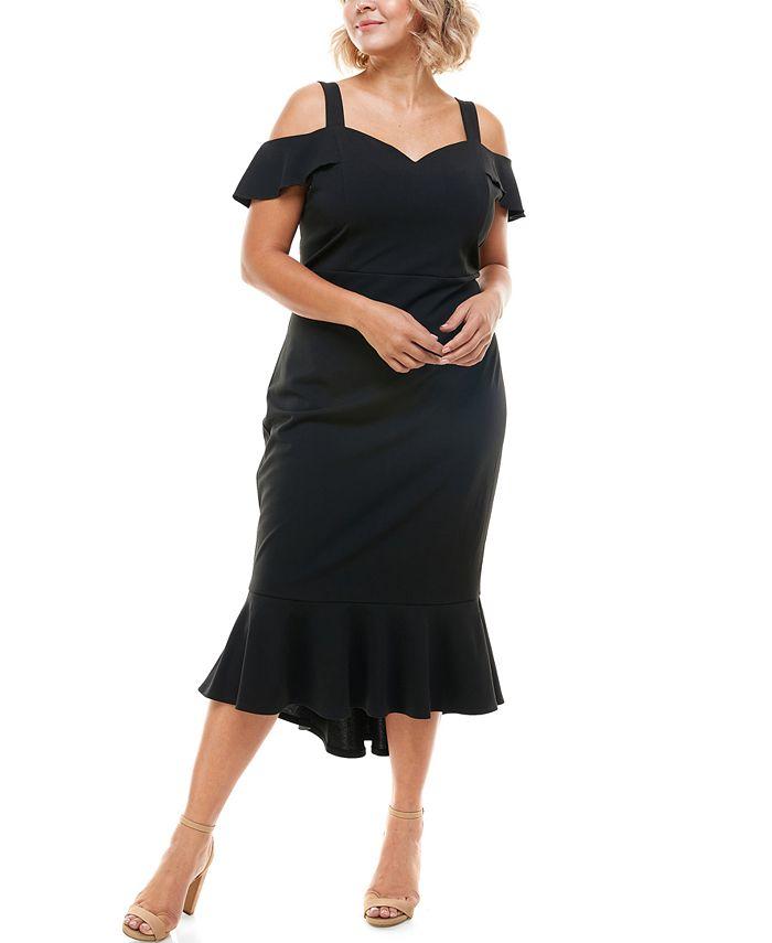 Emerald Sundae - Trendy Plus Size Cold-Shoulder Midi Dress