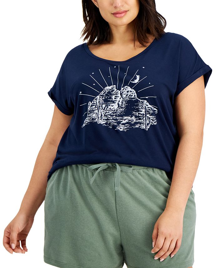 Style & Co - Plus Size Printed Scoop-Neck T-Shirt