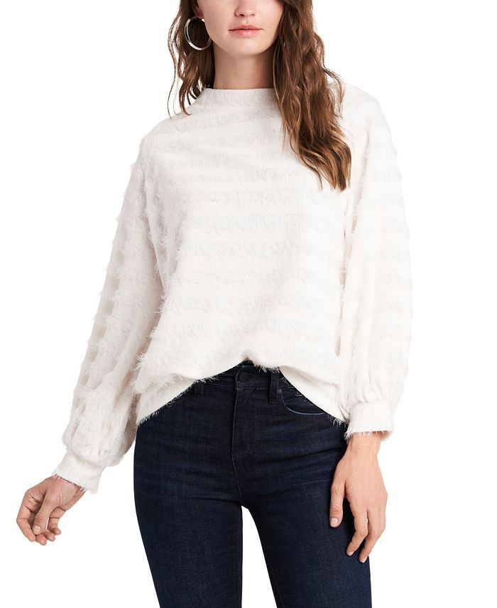 1.STATE - Off-the-Shoulder Fuzzy Sweater