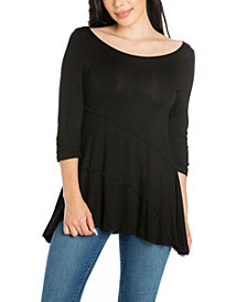 Women's Ruched Sleeve Swing Tunic Top
