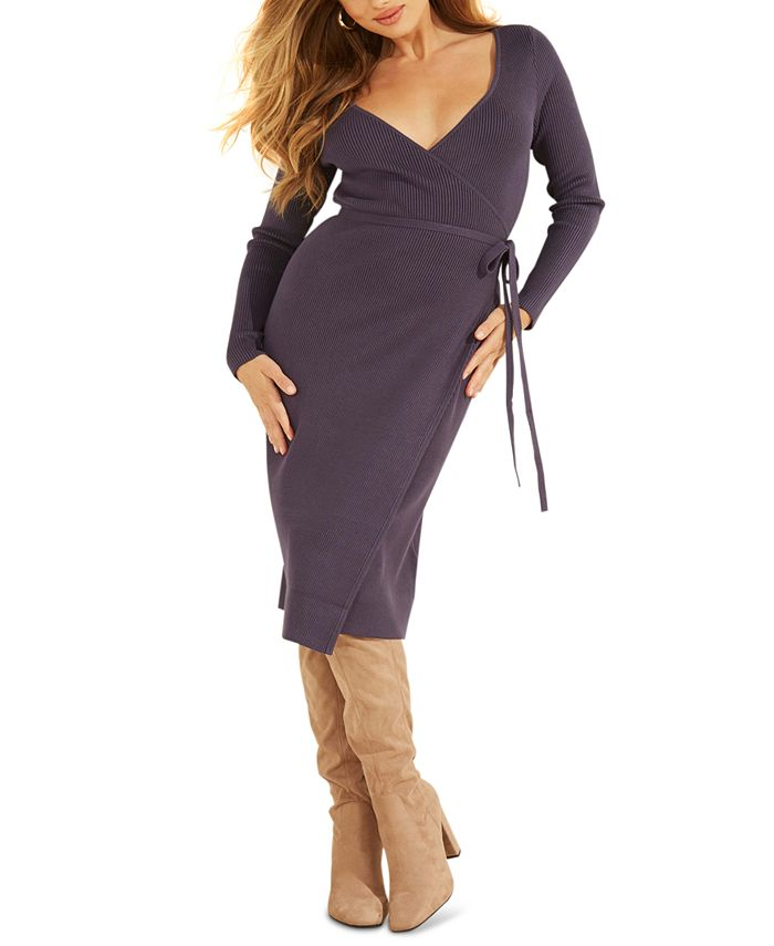 GUESS - Everly Wrap Sweater Dress