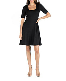 Women's A-Line Dress with Elbow Length Sleeves