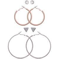 Guess Two-Tone 4-Pc. Set Crystal Stud & Hoop Earrings