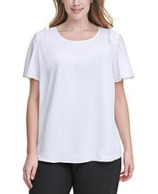 Calvin Klein Plus Size Flutter-Sleeve Top