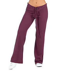 Women's Plus Size Waffle Fabric Drawstring Lounge Pants