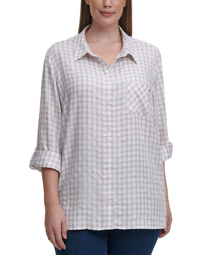 Tommy Hilfiger - Plus Size Printed Roll-Tab-Sleeve Top