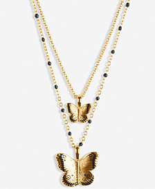 """Lucky Brand Gold-Tone Butterfly 17"""" Layered Pendant Necklace"""