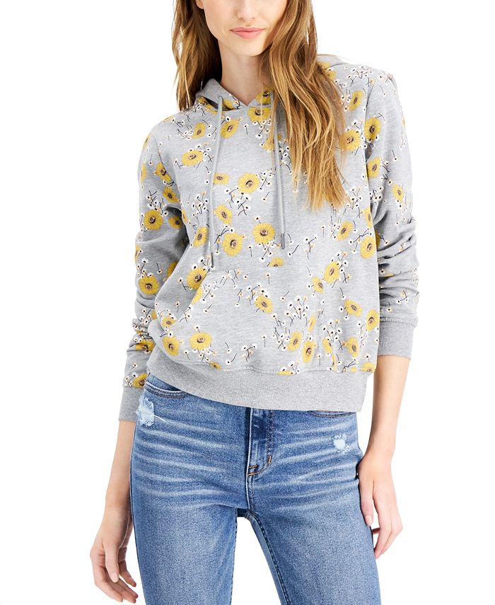 Belle Du Jour - Juniors' Sunflower-Print Hoodie Sweatshirt