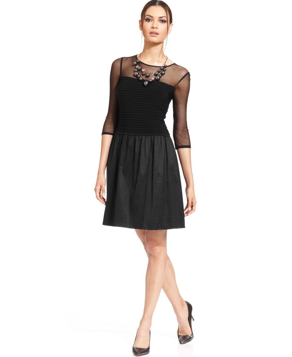 Adrianna Papell Illusion Shutter Pleat Dress   Dresses   Women