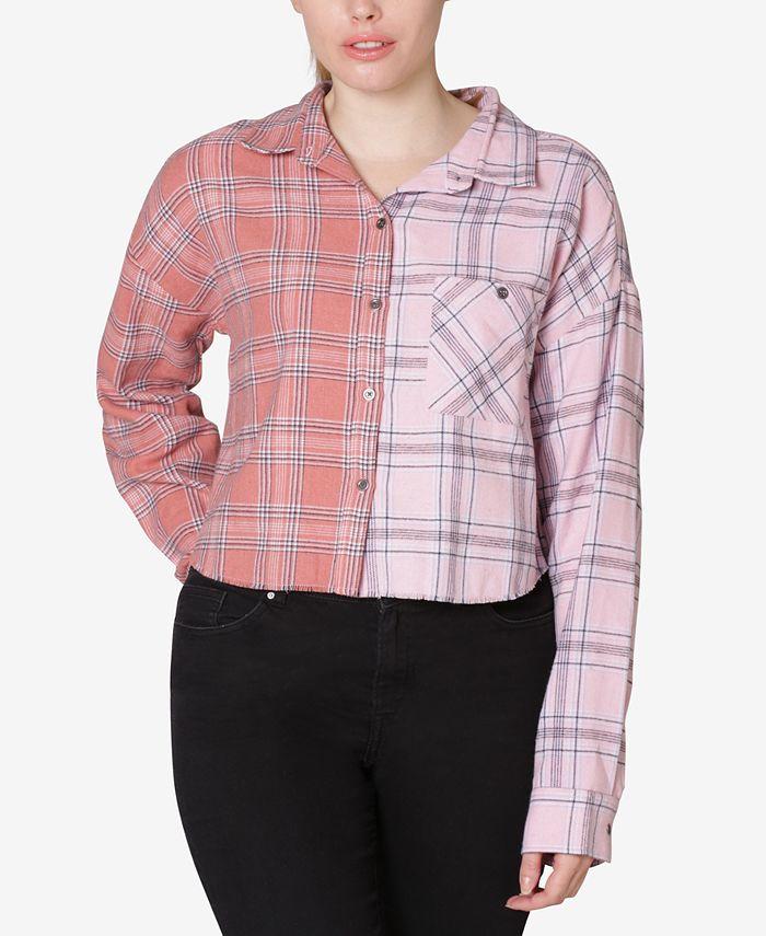 Ultra Flirt - Juniors' Colorblocked Plaid Shirt