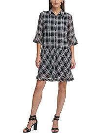 DKNY Drop Waist Printed Shirtdress