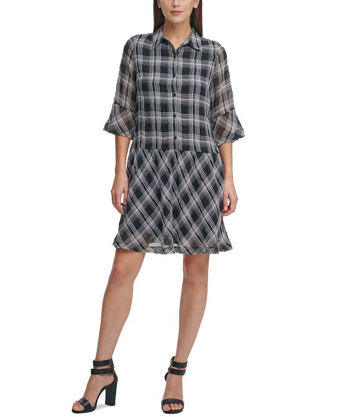 DKNY - Drop Waist Printed Shirtdress