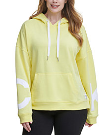 Calvin Klein Performance Plus Size Dropped-Shoulder Hooded Logo Sweatshirt