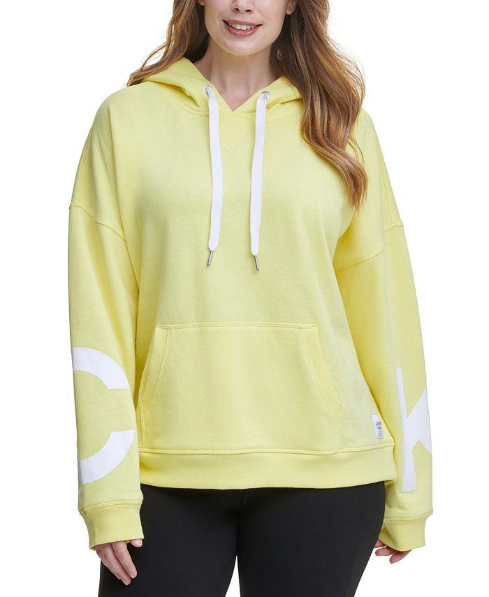 Calvin Klein - Plus Size Dropped-Shoulder Hooded Logo Sweatshirt