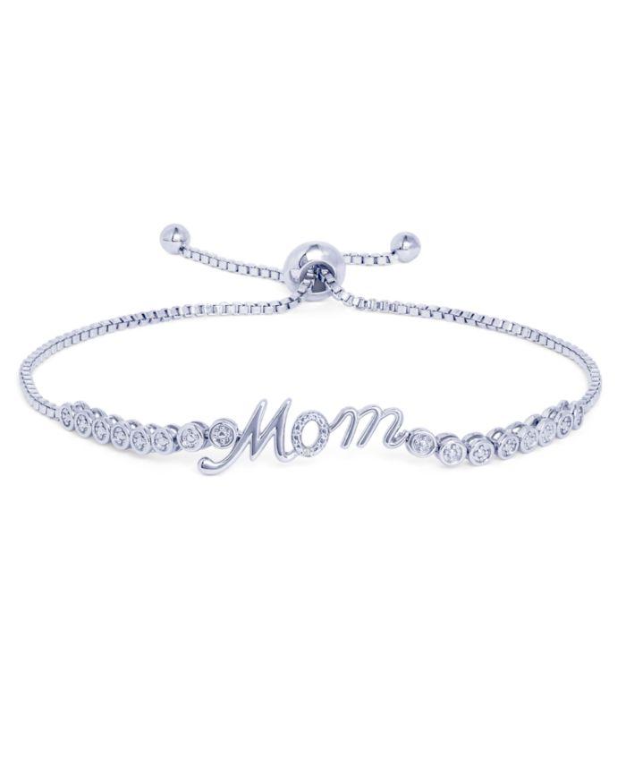 Macy's Diamond Accent Mom Adjustable Bolo Bracelet in Fine Silver Plate & Reviews - Bracelets - Jewelry & Watches - Macy's