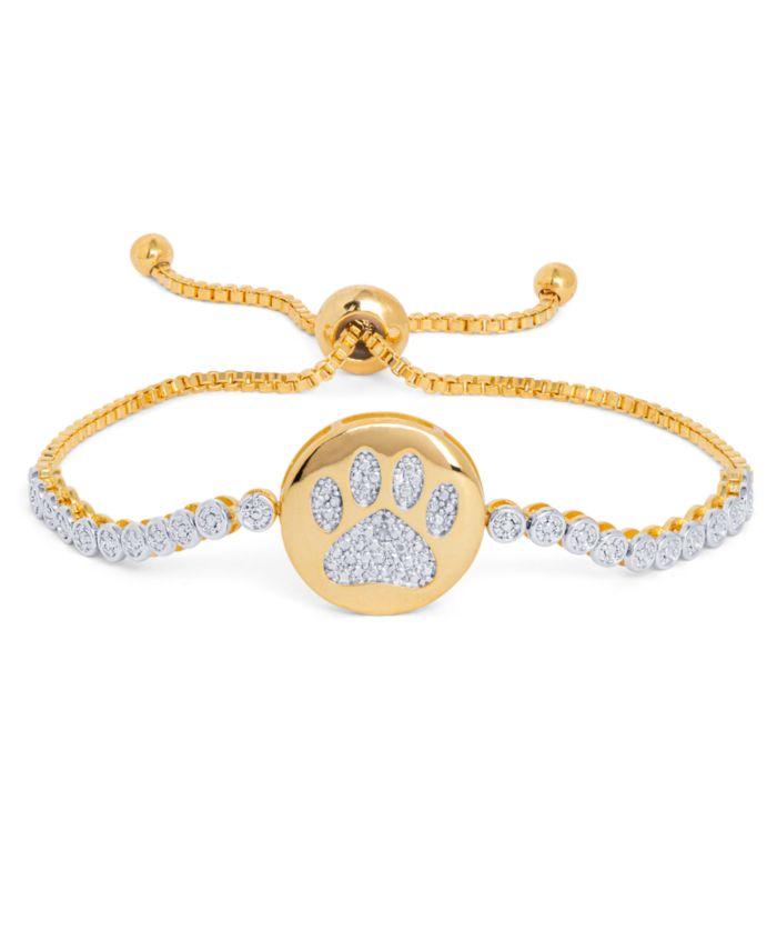 Macy's Diamond Accent Dog Paw Adjustable Bracelet in Gold-Plate & Reviews - Bracelets - Jewelry & Watches - Macy's